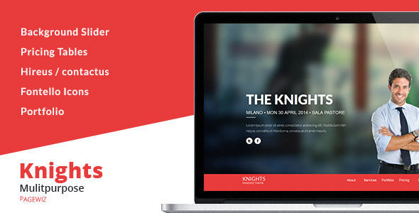Knights Multi-Purpose Pagewiz Template by Xvelopers (landing page template for PageWiz)