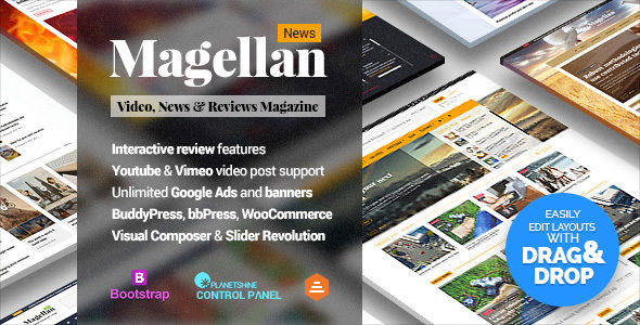 Magellan by Planetshine (magazine WordPress theme)