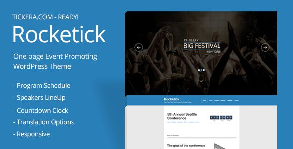 Rocketick by Tickera (event & conference WordPress theme)
