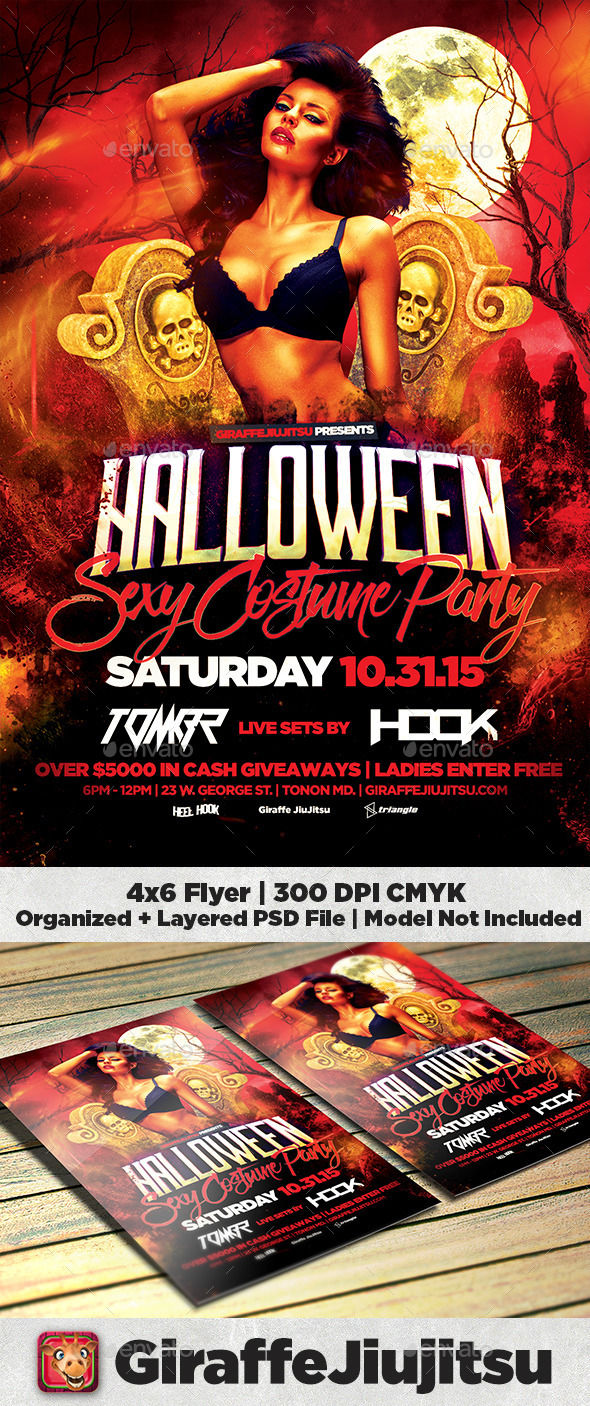 Sexy Halloween Costume Party Flyer Template by GiraffeJiujitsu (Halloween party flyer)