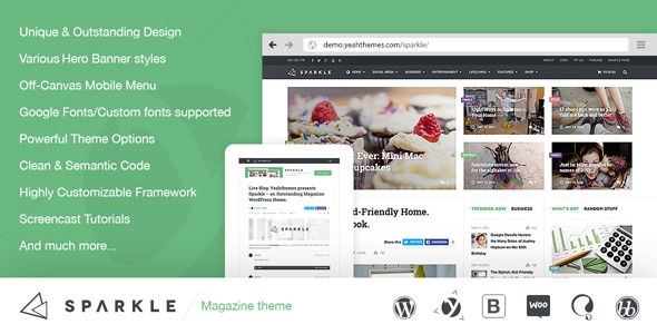 Sparkle by Wpthms (WordPress theme with infinite scrolling)