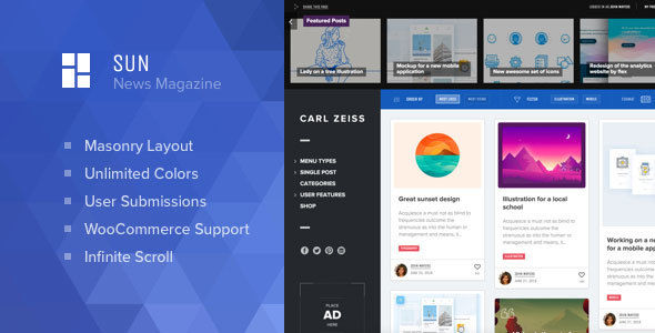 Sun by Osetin (WordPress theme with infinite scrolling)