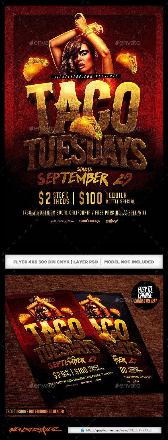 Taco Tuesdays Flyer by INDUSTRYKIDZ (Halloween party flyer)