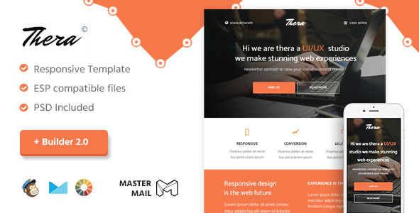 Thera by MasterMail (email templates for use with Mailchimp)
