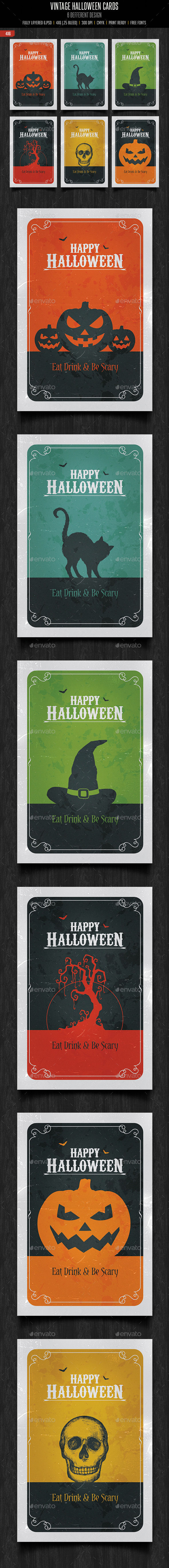 Vintage Halloween Cards by Creativeartx (Halloween party flyer)