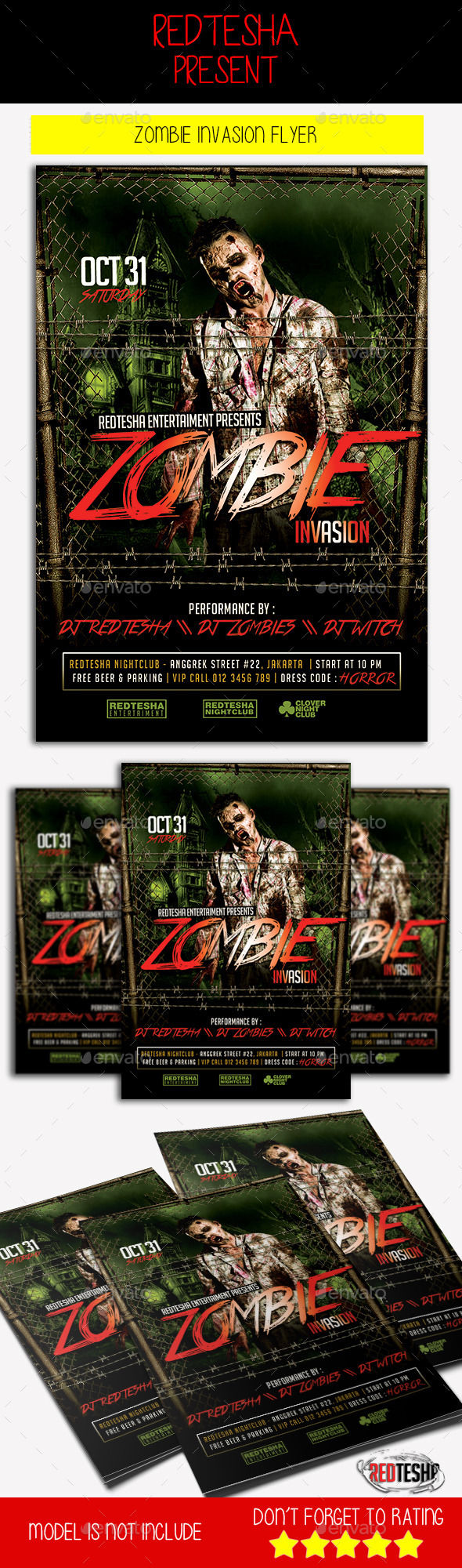 Zombie Invasion Flyer by Redtesha (Halloween party flyer)
