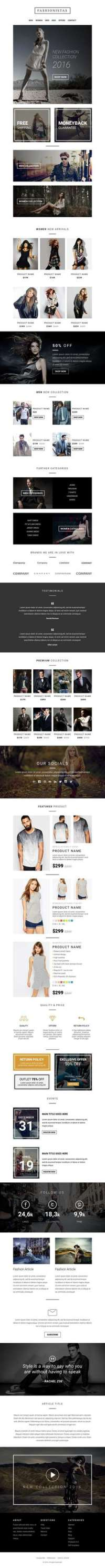 Fashion - Ecommerce - Responsive Email with Mailchimp Editor - StampReady Builder