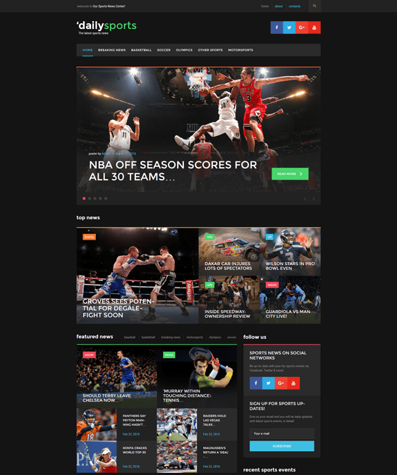 daily sports wordpress themes