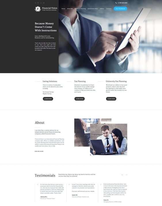 financial wordpress themes vision