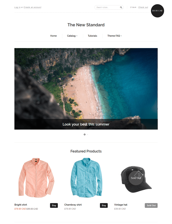 new standard white free responsive shopify themes