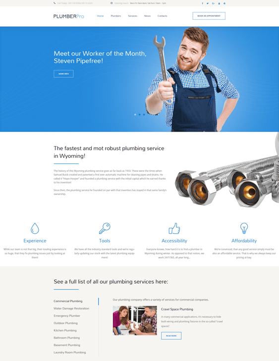 plumbing construction companies building contractors wordpress themes