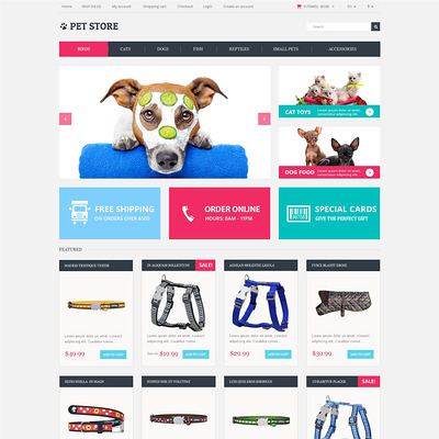 Animals Pets OpenCart Template (OpenCart themes for pets and animals) Item Picture
