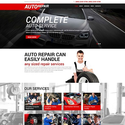 Auto Repair Service WordPress Theme (WordPress theme for car, vehicle, and automotive websites) Item Picture