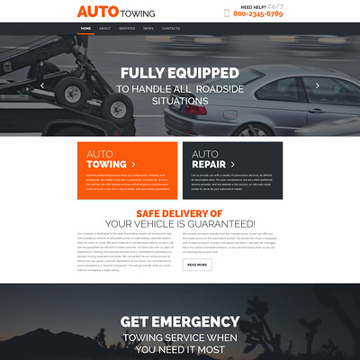 AutoTowing WordPress Theme (WordPress theme for car, vehicle, and automotive websites) Item Picture