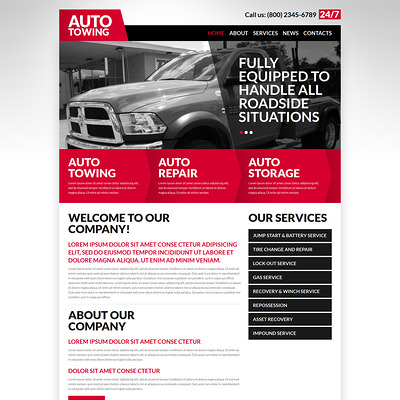 Automobile Towage Joomla Template (Joomla template for car, vehicle, and automotive websites) Item Picture