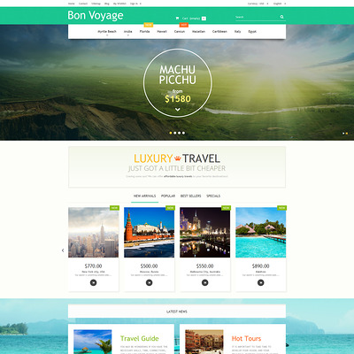 Bon Voyage PrestaShop Theme (PrestaShop themes for travel and tourism companies) Item Picture