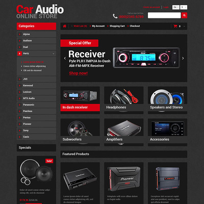 Car Audio Store OpenCart Template (OpenCart theme for automotive, car, and vehicle stores) Item Picture