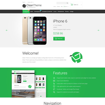 Clean Theme PrestaShop Theme (PrestaShop theme for electronics stores) Item Picture