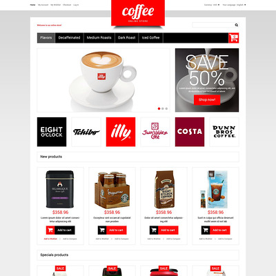 Coffee Store Magento Theme (Magento theme for coffee and tea stores) Item Picture