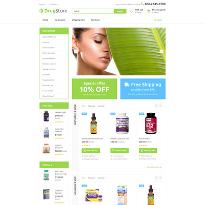 Drugster OpenCart Template (OpenCart theme for health and medical stores) Item Picture