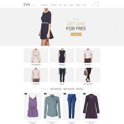 EVA Clothing PrestaShop Theme (PrestaShop theme for womens clothing) Item Picture