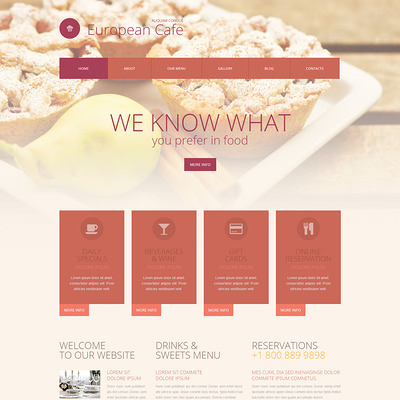 European Restaurant Responsive WordPress Theme (WordPress theme for restaurants) Item Picture