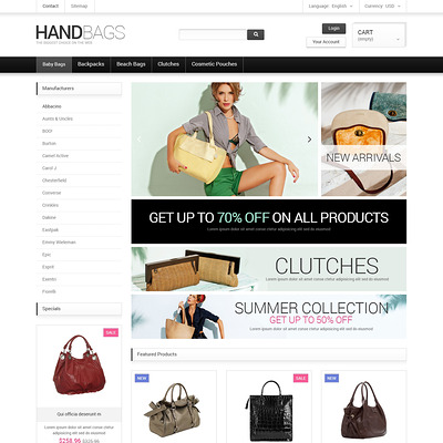 Fancy Bags PrestaShop Theme (PrestaShop theme for purses and handbags) Item Picture