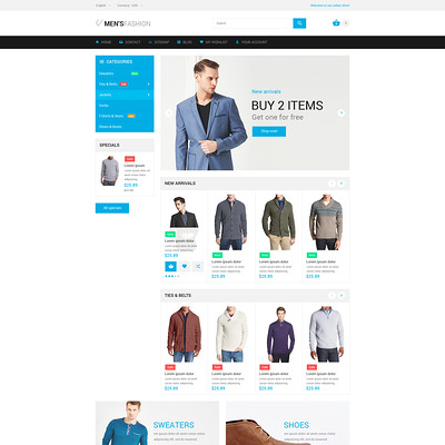 Fashion PrestaShop Theme (PrestaShop theme for mens clothing) Item Picture