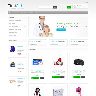 First Aid Store Magento Theme (Magento theme for medical and health stores) Item Picture
