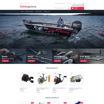 Fishing Store Magento Theme (Magento theme for fishing equipment) Item Picture