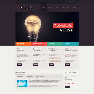 Home Electricity Company Joomla Template (Joomla template for industrial companies) Item Picture
