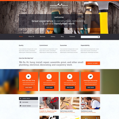 Home Repairs Responsive Joomla Template (Joomla template for construction companies) Item Picture