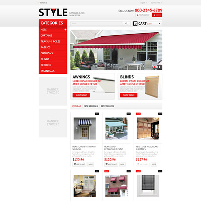 Interior Blinds and Curtains PrestaShop Theme (PrestaShop theme for home decor stores) Item Picture