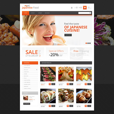 Japanese Food PrestaShop Theme (PrestaShop theme for food stores) Item Picture