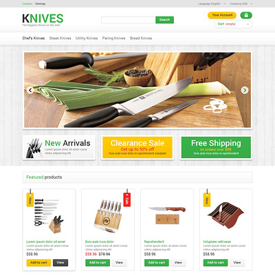 Kitchen Knives PrestaShop Theme (PrestaShop theme for housewares and kitchen supplies) Item Picture