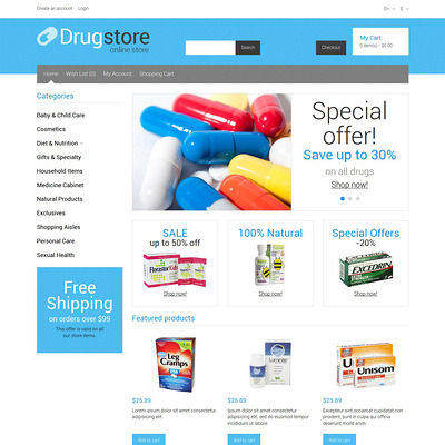 Medical Supplies OpenCart Template (OpenCart theme for health and medical stores) Item Picture