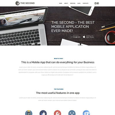 Mobile Applications WordPress Theme (WordPress theme for promoting apps) Item Picture