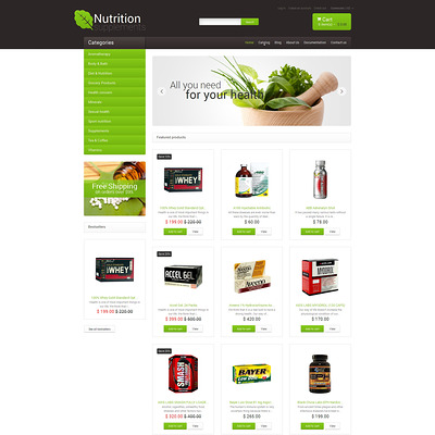 Nutrition Store Responsive Shopify Theme (Shopify theme for medical and health stores) Item Picture