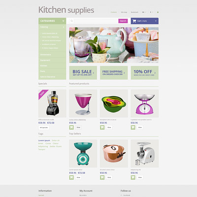 Online Grocery Store PrestaShop Theme (PrestaShop theme for housewares and kitchen supplies) Item Picture