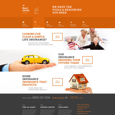 Online Insurance Services WordPress Theme (WordPress theme for insurance companies) Item Picture