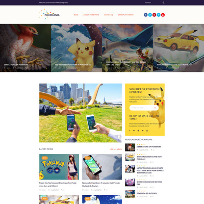 Pokemania (WordPress theme for game portal websites) Item Picture