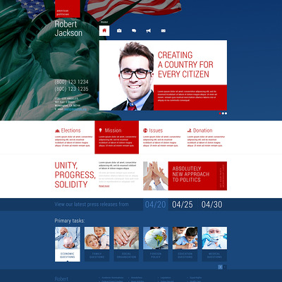 Political Candidate Responsive WordPress Theme (WordPress theme for politics) Item Picture