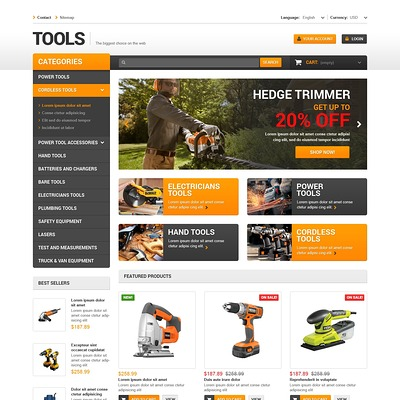 Quality Tools PrestaShop Theme (PrestaShop theme for selling tools) Item Picture