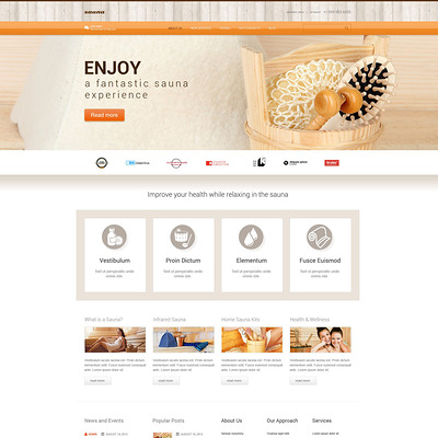 Sauna Responsive WordPress Theme (WordPress theme for hair and beauty salons and spas) Item Picture