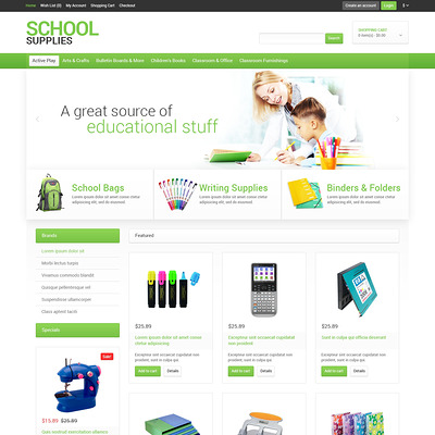 School Stationery OpenCart Template (OpenCart theme for stationery, business cards, and office supplies) Item Picture