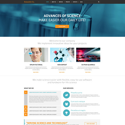 Science Lab Responsive WordPress Theme (science WordPress theme) Item Picture