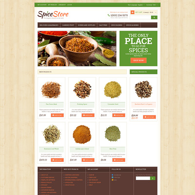 Spice Shop Responsive Magento Theme (Magento theme for selling food and spices) Item Picture