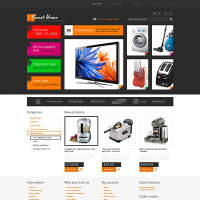 Sweet Home Magento Theme (Magento theme for electronics stores) Item Picture