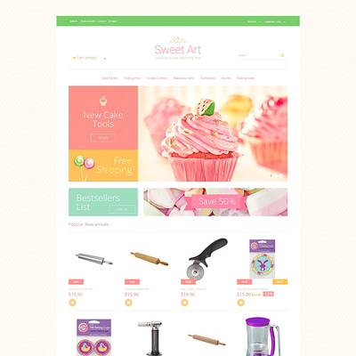 Sweet Tooth PrestaShop Theme (PrestaShop theme for housewares and kitchen supplies) Item Picture