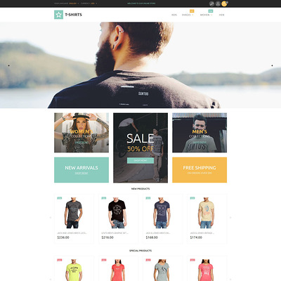T-Shirts Magento Theme (Magento theme for mens and womens clothing) Item Picture